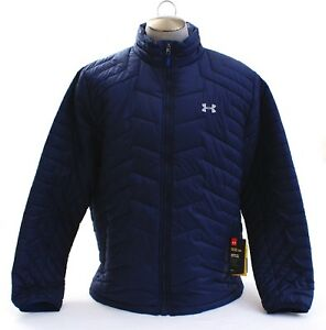 Under Armour Youth Small Navy Blue Coldgear Bomber Zip Up Jacket NEW