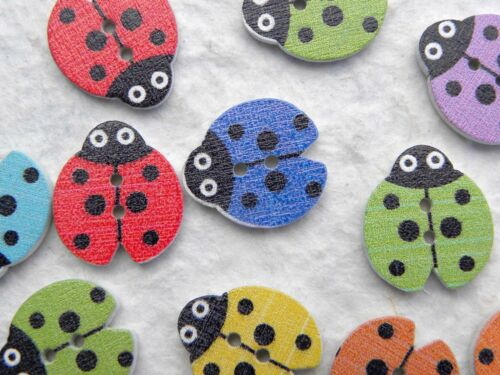 12 18x16mm Mixed Colour Printed Wooden Ladybird Buttons Crafts Sewing Knitting