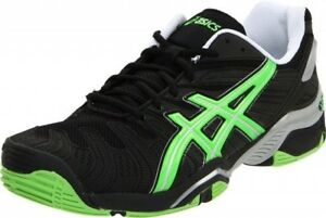 ef29a8e7 Details about ASICS Mens Gel Resolution 4 Tennis Shoes Black Green - Size  11 - Brand New