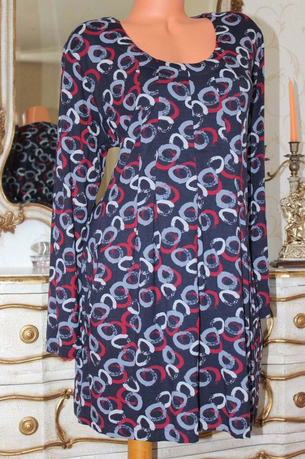 (Ref 100(3)  CAPRI Navy bluee Viscose & Lycra  Mix Pleated Tunic Dress Size 16