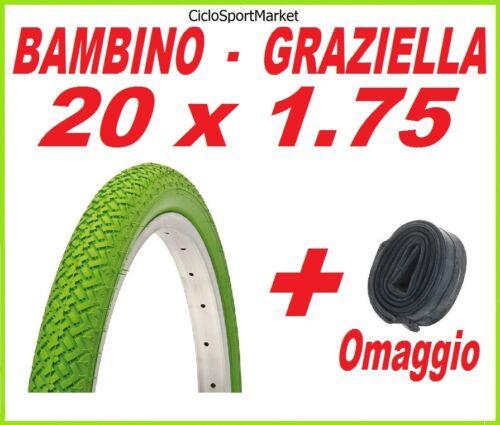 Copertone 20 X 1.75 VERDE bici GRAZIELLA BAMBINO CAMERA D/'ARIA OMAGGIO