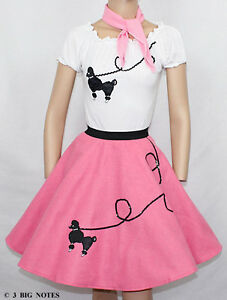 3-PC-HOT-PINK-50s-Poodle-Skirt-outfit-Girl-Youth-Sizes-10-11-12-13-W-25-30