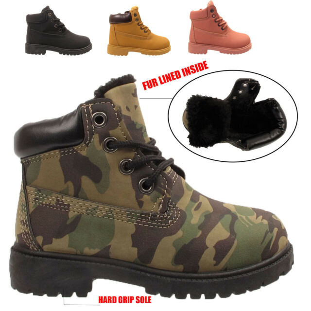 UK Boys Girls Camouflage Snow Boots Kids Outdoor Trainers Hiking Snow Shoes Size