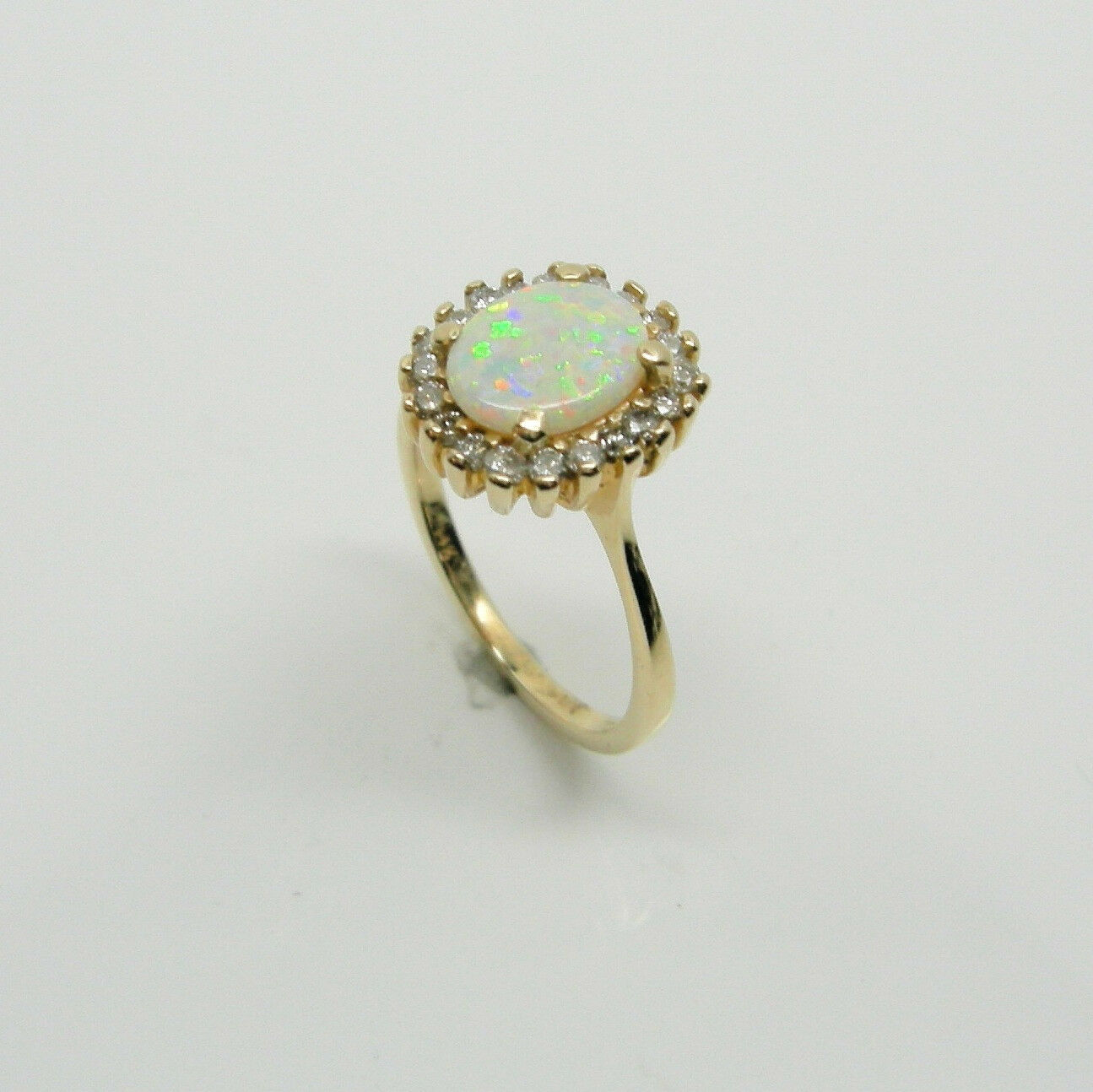 GENUINE WHITE OPAL RING WITH 1 3 CARAT DIAMONDS IN 14K YELLOW gold RETAIL  1799