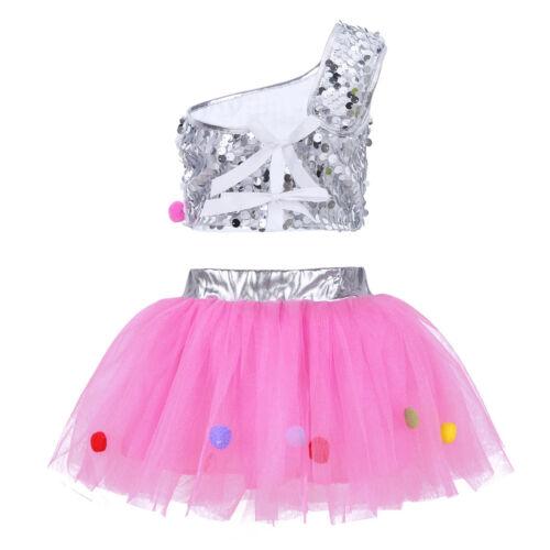 Child Girls Jazz Dancewear Costume Kids Modern Ballet Sequins Stage Dance Dress