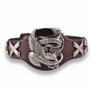 Harley-Genuine-Leather-Bracelet-Eagle-Davidson-Skull-Black-Chopper-Biker-Punk-To