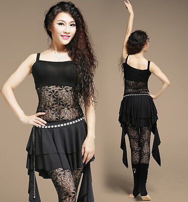 New Sexy Soft Lace Modal Dancewear Belly Dance Costume Yoga Blouse Top 5 Colors
