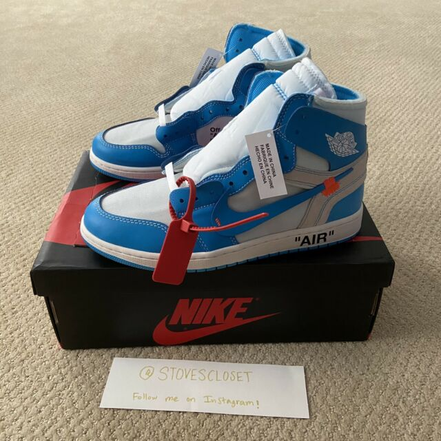 latitud monitor Articulación  Off-White Nike Air Jordan 1 UNC University Blue Size 9.5 AQ0818-148  AUTHENTIC for sale online