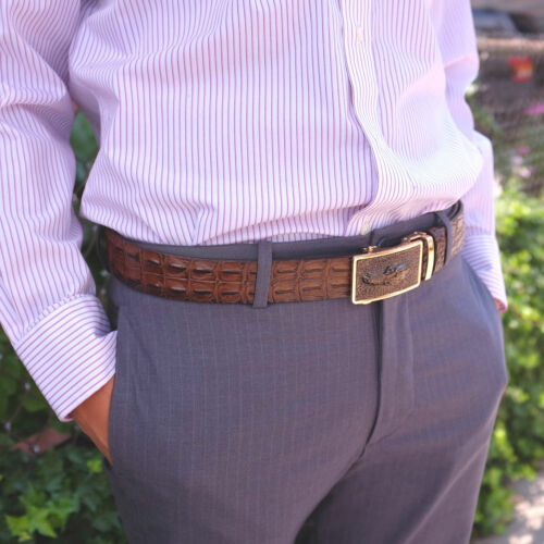 Falari Men Alligator Dress Belt Embossed Genuine Leather Strap Automatic Buckle