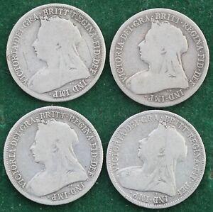 Lot de 4 Queen Victoria argent 1898 1899 1900 1901 Shilling pièces date Run