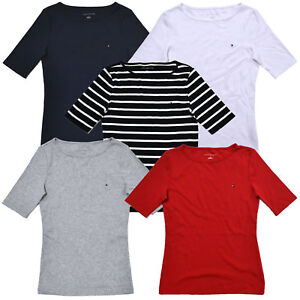 Tommy-Hilfiger-Womens-T-shirt-Boat-Neck-Half-Sleeve-Top-Wide-Crew-Casual-New-Nwt