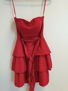 F4-WOMENS-MAJE-RED-STRAPLESS-PEPLUM-LAYERS-BELT-EVENING-FORMAL-DRESS-UK-8-EU-36