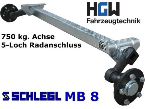 ungebremste Anhängerachse AS: 5*112 Achse für Anhänger 750 kg AM: 1200 mm