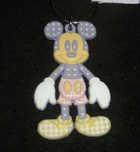 """DISNEY MICKEY MOUSE 3/"""" RUBBER FIGURE KEYCHAIN NEW"""