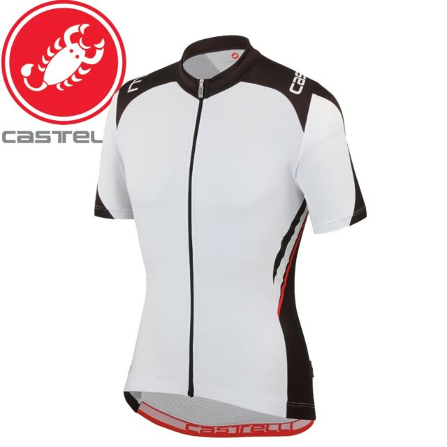 NEW 2019 Castelli ENTRATA 3 Short Sleeve Full Zip Cycling Jersey WHITE