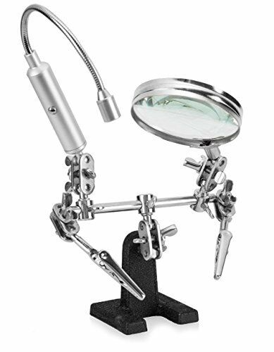 Ram-Pro Helping Hand Magnifier Glass Stand with Flexible Neck LED Flashlight & A