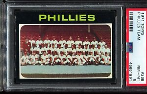1971-Topps-Baseball-268-Philadelphia-Phillies-Team-Card-PSA-8-NM-MT