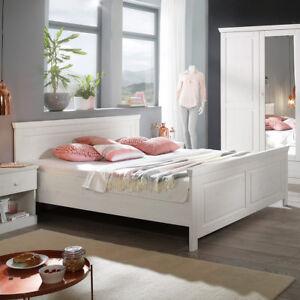 bett genia bettgestell doppelbett in kiefer massiv wei 180x200 cm landhausstil ebay. Black Bedroom Furniture Sets. Home Design Ideas