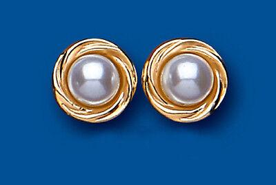 9 karat Gelbgold weiß Perle mit Gedreht Gezackte Verzierung Stecker AP0291