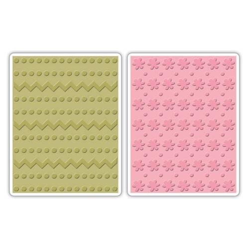 Sizzix A2 Embossing Folders 2PK Zig Zags /& Flowers Set 658846 Dots