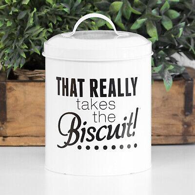 Round Métal Crème émail Cookie Jar Biscuit Baril alimentaire bidon de stockage titulaire