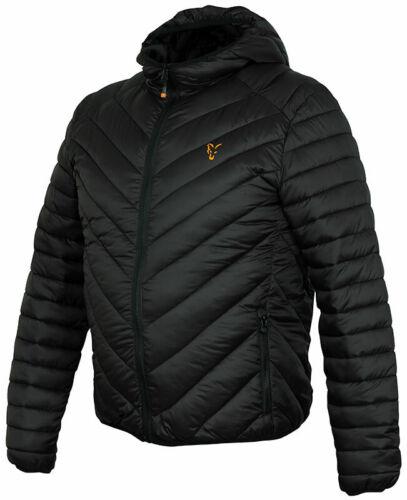 Fox Collection Noir Orange Veste Matelassée Manteau Toutes Les Tailles