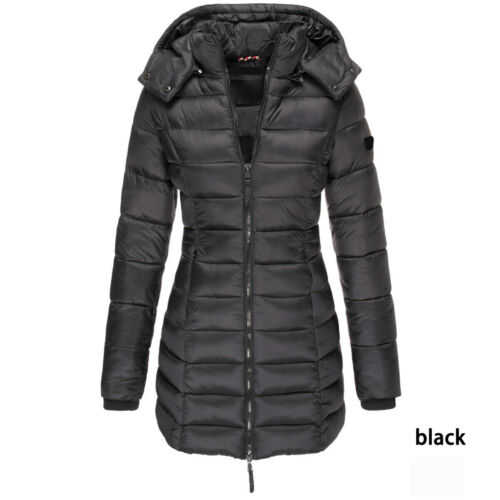 Womens Winter Parka Warm Long Quilted Puffer Ladies Down Jacket Hooded Overcoat