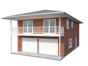 Details about Two Car Garage Apartment Plans DIY 2 Bedroom Coach Carriage  House Home Building