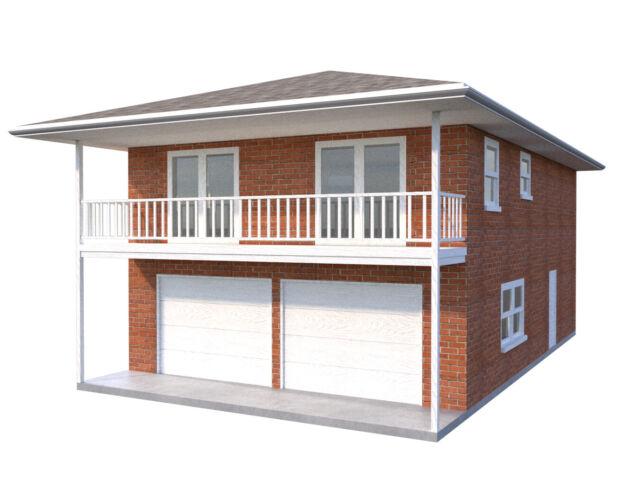 DIY Plans 2-Car Garage Apartment Home Building Plan