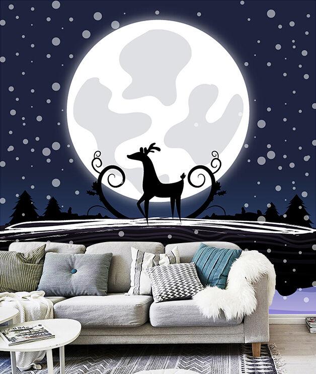 3D Christmas round moon WallPaper Murals Wall Print Decal Wall Deco AJ WALLPAPER