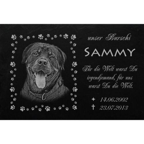 Lápida túmulos lápida animal lápida perro 046 ► texto foto grabado ◄ 35x25cm