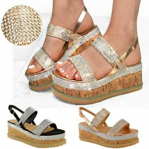 Details about New Womens Ladies Low Wedge Flatform Sandals Platform Diamante Cork Espadrilles