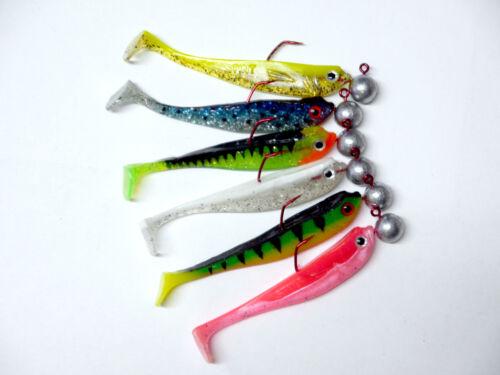 6 x MB Fishing Stint-Set 9cm incl VMC-Jig Gummifisch Softbait Zander  Barsch