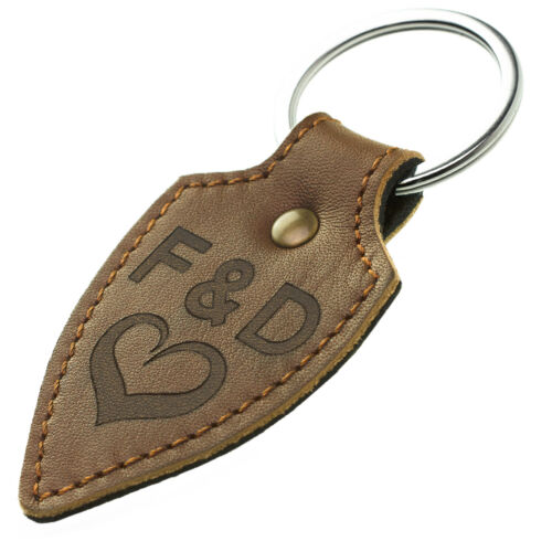 Leder Schlüsselanhänger mit Gravur braun Naht Echtleder Braun