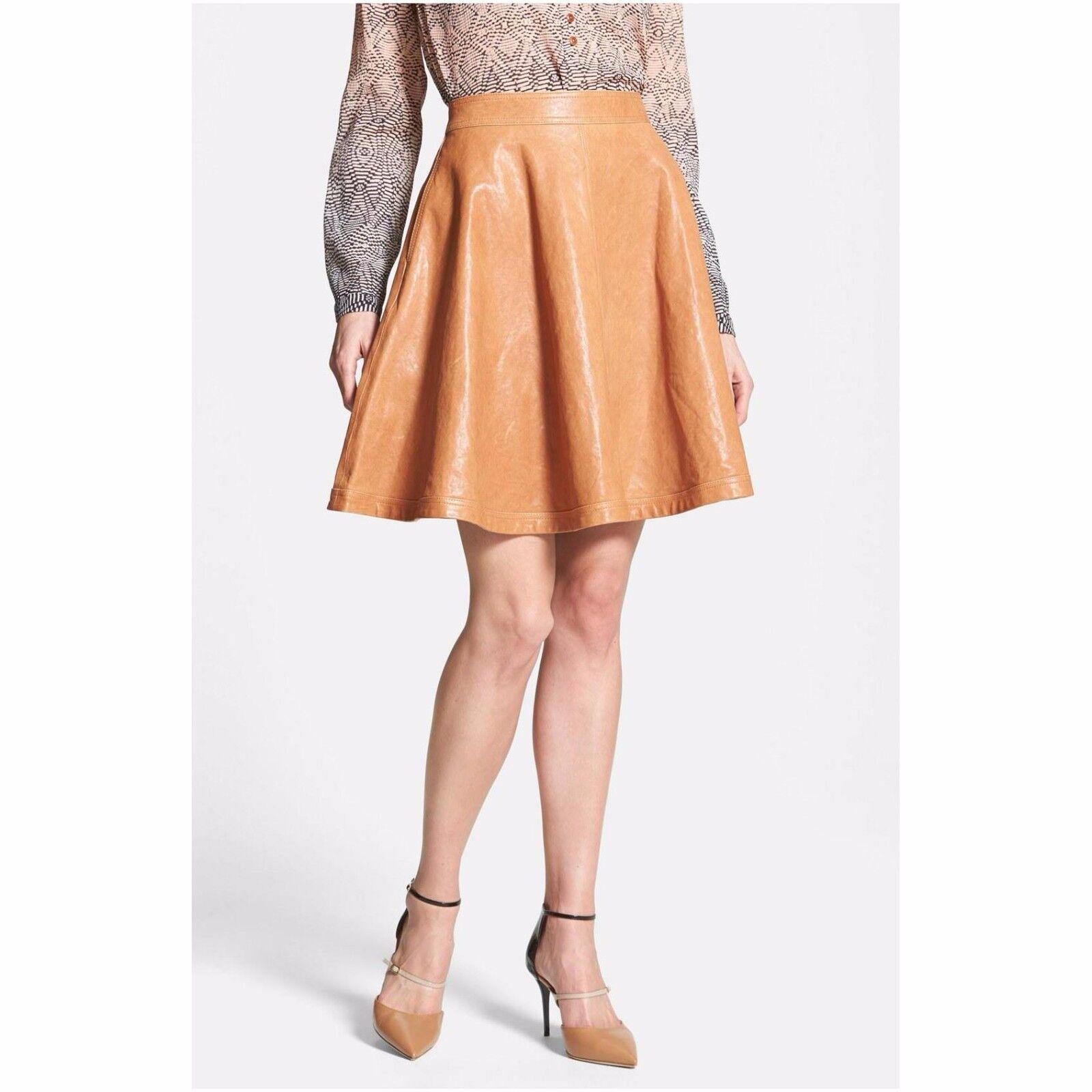 DVF DIANE VON FURSTENBERG 'Riley' 100% Leather Flare Full Skirt Tan Größe 2  895