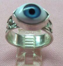 "Sterling Silver 925 Handcrafted Blue Evil Eye  "" Amulet ""  Ring skaisMY17"