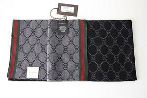 GUCCI-Strickschal-Unisex-mit-GG-Muster-23x180-cm-100-Wolle-schwarz-NEU-325806