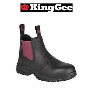 8267089eae6 Details about Womens KingGee Tradie Pull Up Work Boots Full Leather Safety  Toe Black K27390