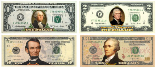 Set of 4 COLORIZED 2-SIDED US Bills Currency $1//$2//$5//$10 Genuine Legal Tender