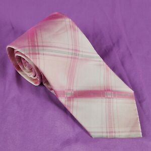 Calvin-Klein-Men-039-s-98-Silk-Blend-Tie-Pink-Geometric-Stripe-57-034-Long-x-3-25-Wide