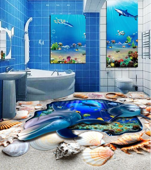 3D Stone Sea Dolphin Floor WallPaper Murals Wall Print Decal 5D AJ WALLPAPER