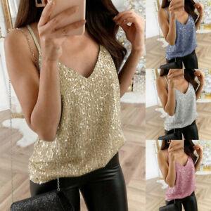 Womens-Summer-Glitter-Strappy-Tank-Tops-Sexy-Sparkle-Cami-Swing-Vest-Clubwear-AU