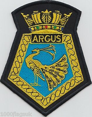 HMS Argus Royal Navy Embroidered Crest Badge Patch - MOD Approved