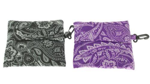 1 x Reusable Foldable Shopping Bag Eco Tote Handbag Tartan Floral in Pouch Clip