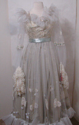 Vintage Taffeta Embroidered Net Lace Ruffle L Sleeve Floral Trim Ball Gown W/Fan