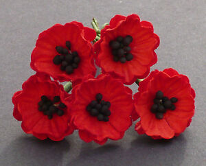 5 X Poppy Poppies Mulberry Paper Flowers Paper Craft Flower