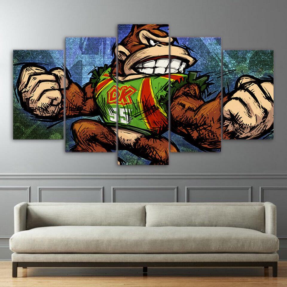 5 Panel Framed Donkey Kong Picture Modern Décor Canvas Wall Art HD Print