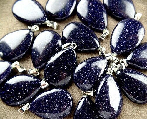 30pcs 25x17x6mm blue sand stone teardrop pendant bead VK11099