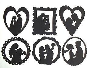 9 bride groom heart circle wedding silhouette die cut topper cards image is loading 9 bride groom heart circle wedding silhouette die junglespirit Gallery