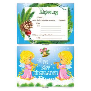Einladungskarten-8-Stueck-zum-Ausfuellen-fuer-Geburtstag-Engel-034-Weihnachten